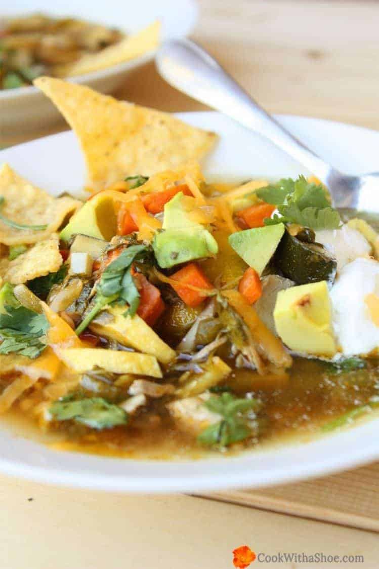 Need a new chicken soup recipe? You will love this Chicken Tortilla Soup; eating it is like getting a hug from the inside! *Free Recipe* |Cook With a Shoe