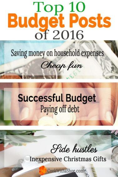Budgeting | Saving Money | Saving on Household Expenses | Inexpensive Christmas Gifts | Side Hustles | Top 10 Posts of 2016 |Cook With a Shoe